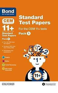 Details about BOND 11+ CEM STANDARD TEST PAPERS PK 1  4 Tests Maths English  Verbal Non-Verbal