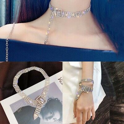 Fashion Full Diamond Crystal Rhinestone Choker Necklace Women Wedding Jewelry UK
