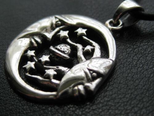 KA 773 Mondanhänger mit Sternen 925/'er Silber Mond Anhänger