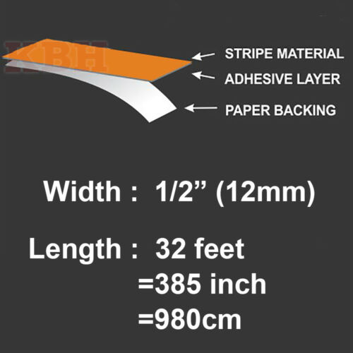 """1//2/"""" Roll Vinyl Pinstriping Pin Stripe Solid Line Tape Decal Sticker 12mm BROWN"""