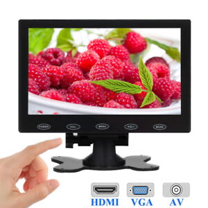 7-034-Zoll-LCD-CCTV-Monitor-1024-600-Mini-PC-Bildschirm-HDMI-BNC-AV-VGA-w-Redner