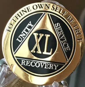 30 Year AA Medallion Black Gold Plated Bi-Plate Alcoholics Anonymous Chip Coin