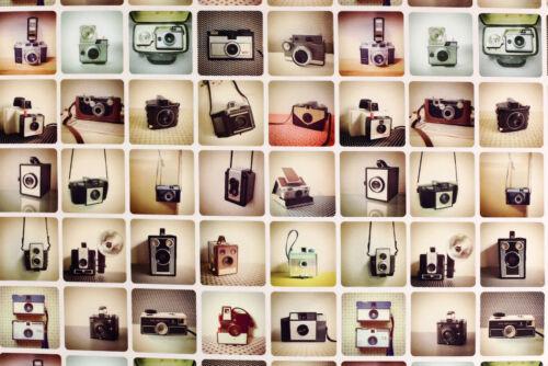Deko Möbel Patchwork Stoffe Baumwolle Vorhang Gardine Retro Foto Kamera 1067//52