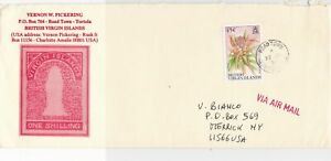 British Virgin Islands 1992 Roadtown Cancel Airmail to USA Stamps Cover Ref23440