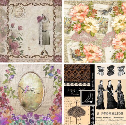 4 Vintage Table Paper Napkins for Party Lunch Decoupage  Romantic Paris