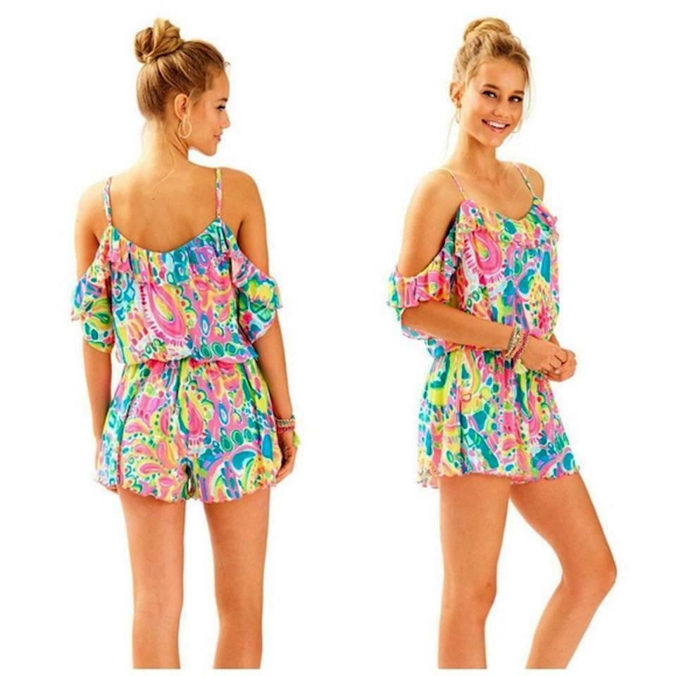 NWT Lilly Pulitzer Fenella Romper Multi  Come Out Of Your Shell  sz M