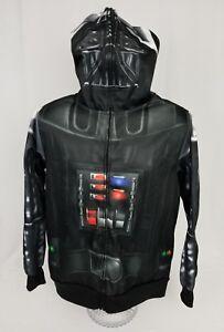 Darth-Vader-Star-Wars-Costume-Halloween-Mens-Hoodie-Zip-Sweater-Small-EUC