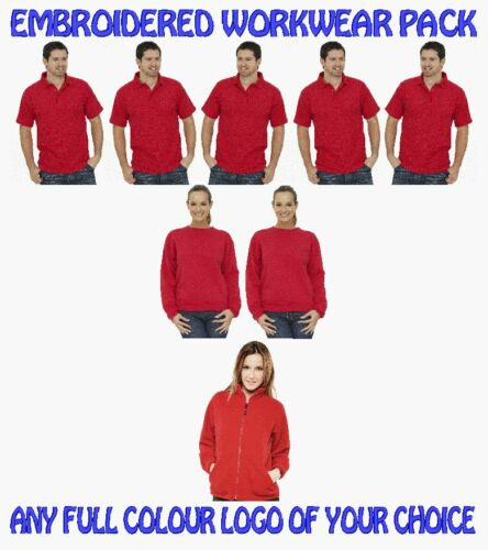 2 Sweatshirts 1 Fleece Jacket FREE EMBROIDERED LOGO! 5 Workwear Poloshirts