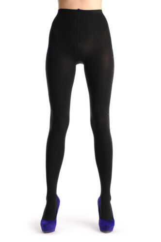 T000341 Black Wide Side Seam and Lurex Rectangles