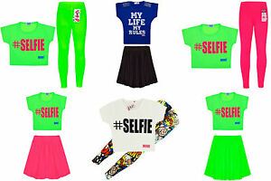 New Girls Dress Neon Crop Top Skirt Leggings Kids Party Dresses Age 7 13 Years Ebay