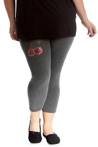 New Womens Plus Size Leggings Ladies Cherry Stud Rhinestone Pants Elastic Soft