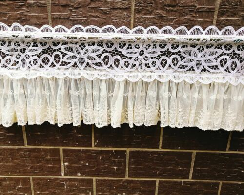 Victorian~Battenburg Lace Ruffled Lace Window Curtain Valance Cafe Curtain~White