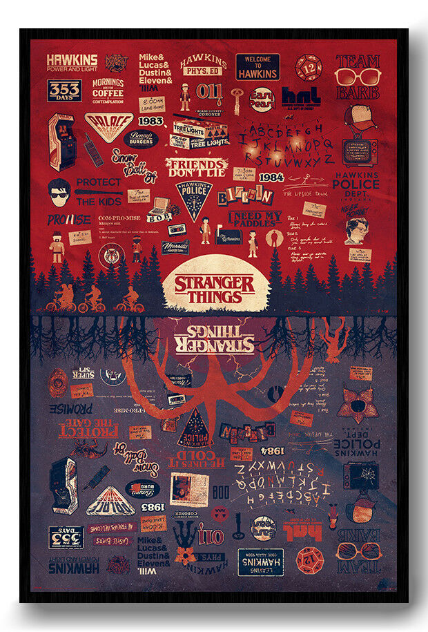 Stranger Things The Upside Down Poster Framed Cork Pin Board With Pins