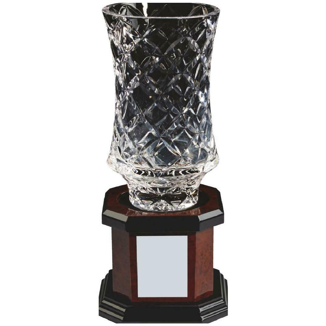 Crystal Vase with wooden base  award , gift,FREE Engraving (KL829)TWT