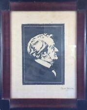 "Carl Jozsa: Linolschnitt ""Richard Wagner"" um 1900, signiert, gerahmt"