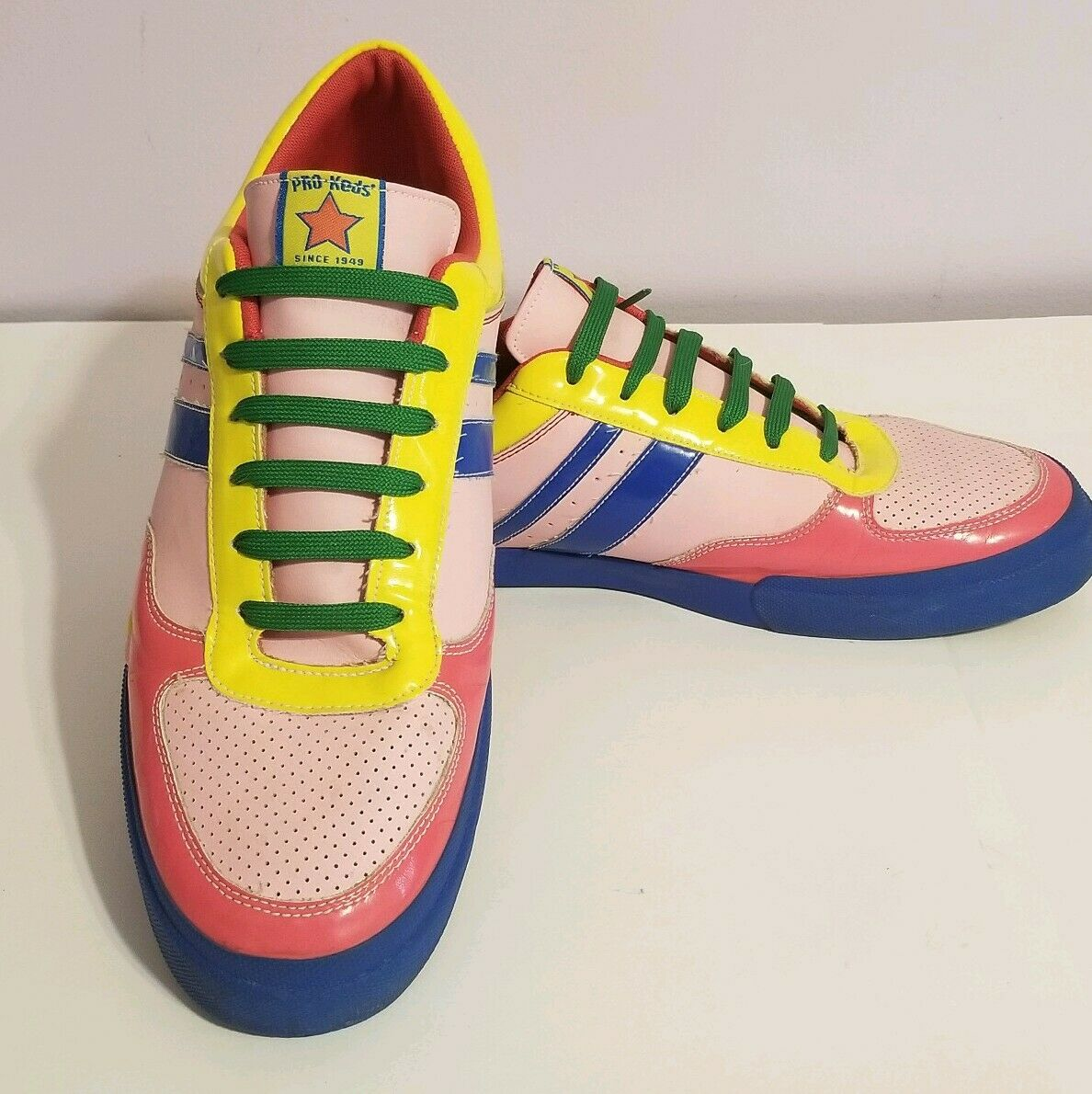 Pro Keds Mens shoes Size 14 Retro 80s colors Pink bluee Yellow Summer 2007 Collec
