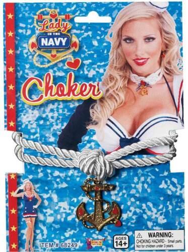 Lady In Navy Choker Sailor Fancy Dress Accessory