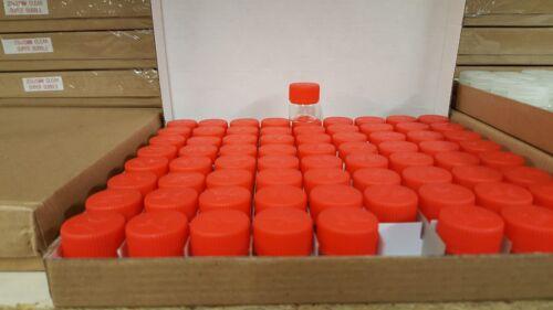 """24X Tiny Small TRAVEL Storage Clear Bottle Glass Mini Jars 1/"""" Vials 23x25 RED"""