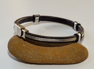 New-Men-039-s-black-leather-Bracelet-with-triple-stainless-steel-braided-wire