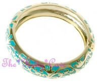 14 KGP Gold Chic Swirl Scroll Pattern Turquoise Enamel Hinged Bangle Bracelet