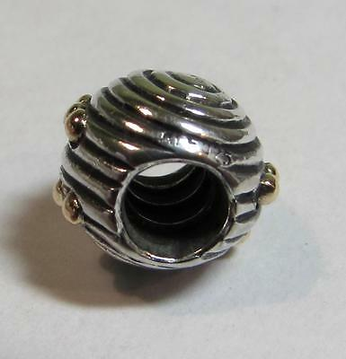 Genuine Pandora 925 ALE Silver Charm & 14ct Gold Ebb and Flow 790306