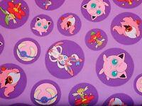 Pokemon In Bubbles On Lavender By The Yard Cotton Print Poke'mon
