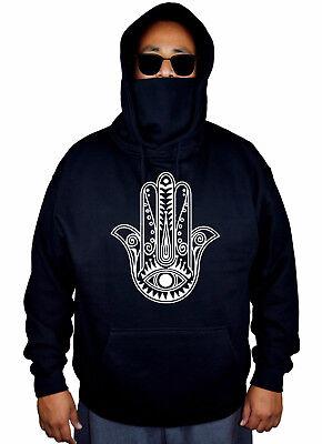 Men/'s Hamsa Hand Black Hoodie Divine Hindu Spiritual Yoga Protection Sweater