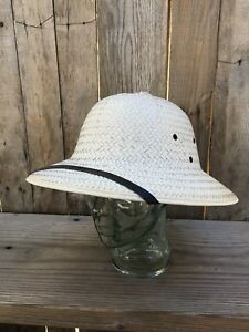 Image is loading Vintage-Safari-Jungle-Helmet-Hat-Straw-Pith-with- 7fca8c59243e