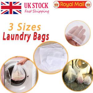 Drawstring Laundry Bag Net Wash Mesh Bra Underwear Cloths Aid Reusable 3Sizes UK
