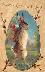 Standing-Bunny-Rabbit-w-Egg-Basket-Pussy-Willow-Flowers-Easter-Postcard-b473