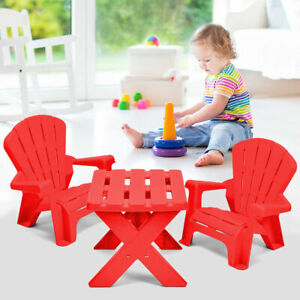 Plastic-Children-Kids-Table-amp-Chair-Set-3-Piece-Play-Furniture-In-Outdoor-Red