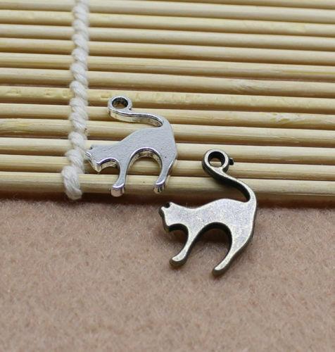 10//50pcs 19x14mm Antiqued Silver//bronze Tone Vintage Alloy cat Pendant Charms