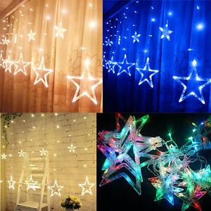 led lichterkette stern lichtervorhang fenster baum weihnachtsdeko flash lichter ebay. Black Bedroom Furniture Sets. Home Design Ideas