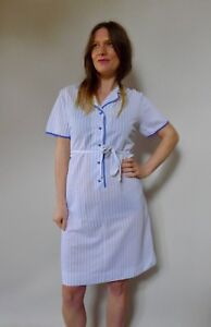 Vintage-true-60s-unused-Osti-plus-size-shirt-dress-blue-white-dress-NOS-mint