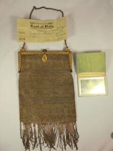 Antique-Micro-Beaded-Brass-Frame-Chain-purse-1930-Check-Included-almost-century