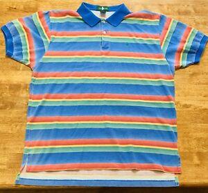RARE-Vintage-1990-039-s-Hunt-Club-Vibrant-Stripe-Ombre-Polo-Shirt-Men-039-s-XL-Preppy