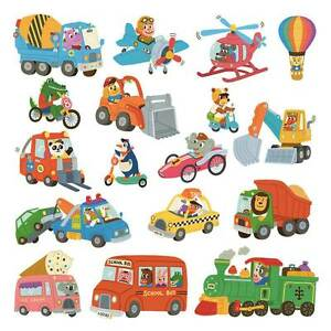 Wandsticker Kinderzimmer Auto Fahrzeuge Reise der Tiere Wandtattoo ...