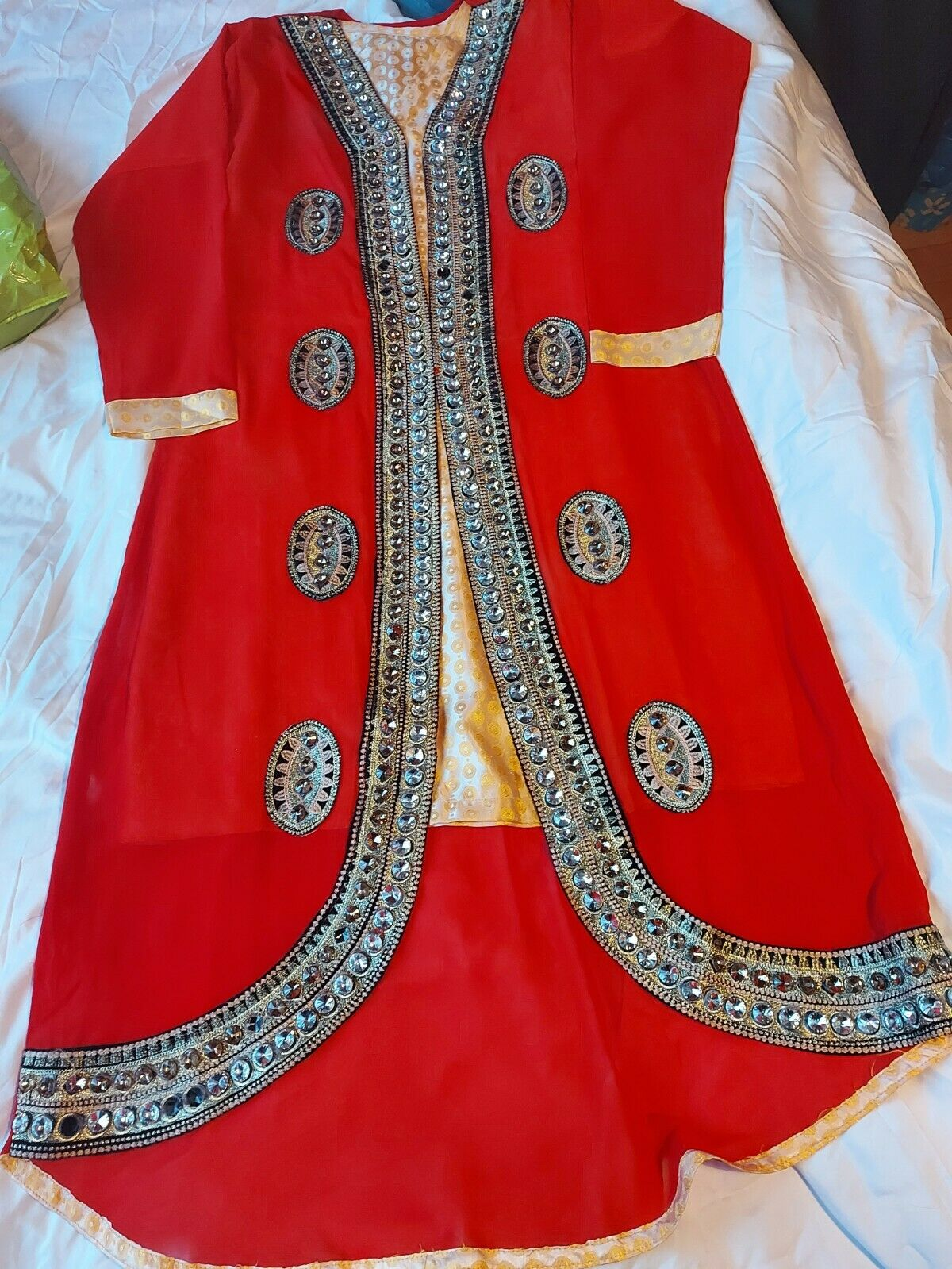 red asian party dress heavy