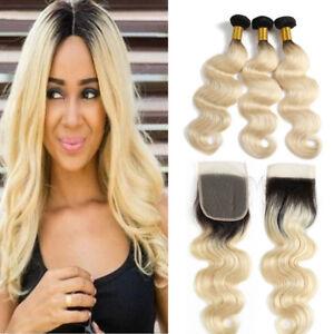8A-Ombre-1B-613-Honey-Blonde-Human-Hair-Bundles-With-Closure-Brazilian-Body-Wave