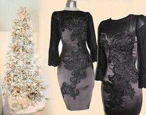 10-UK-KAREN-MILLEN-Grey-Broderie-Floral-Lace-Embroidered-Cocktail-Shift-DRESS-38