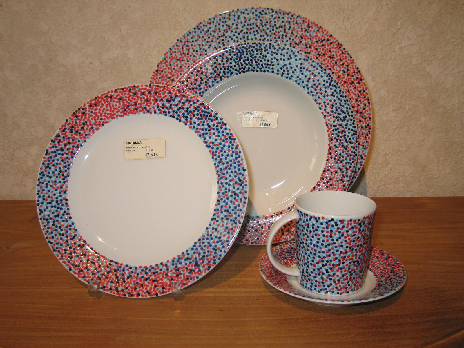 ALESSI NEW PROUST MOUCHETE Set 3 assiettes + 1 tasse Plates + cup