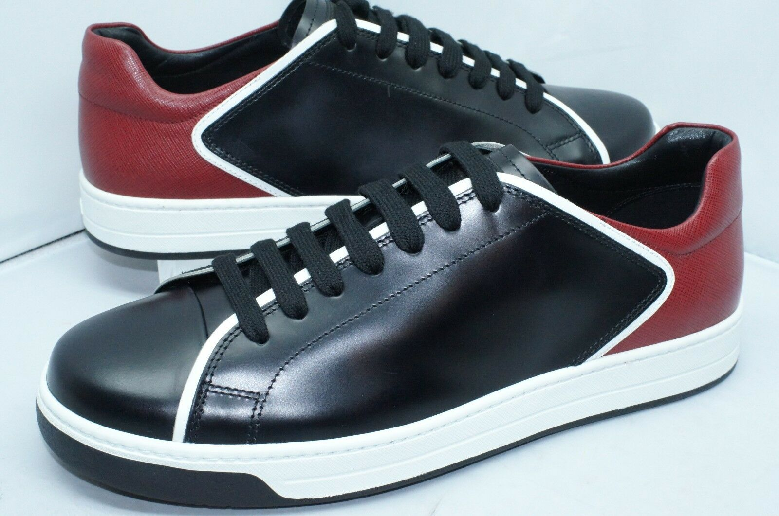 New Prada Mens Black Sneakers Shoes Size 10 Spazz Lux Saff Red Tennis Leather