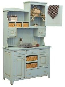 Details about Primitive Farmhouse Kitchen Hutch Pantry Cupboard Distressed  Painted Wood