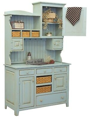 Primitive Farmhouse Kitchen Hutch Pantry Cupboard Distressed Painted Wood |  eBay