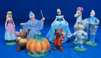 Disney Cinderella Fairy Godmother Ceramic Figurine 9 Pc Boxed Set LE 1950 COA