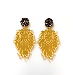 Lion-Acrylic-Earrings-Surgical-Steel-Studs-Gold-Mirror