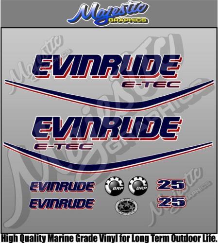 EVINRUDE ETEC 25hp OUTBOARD DECALS