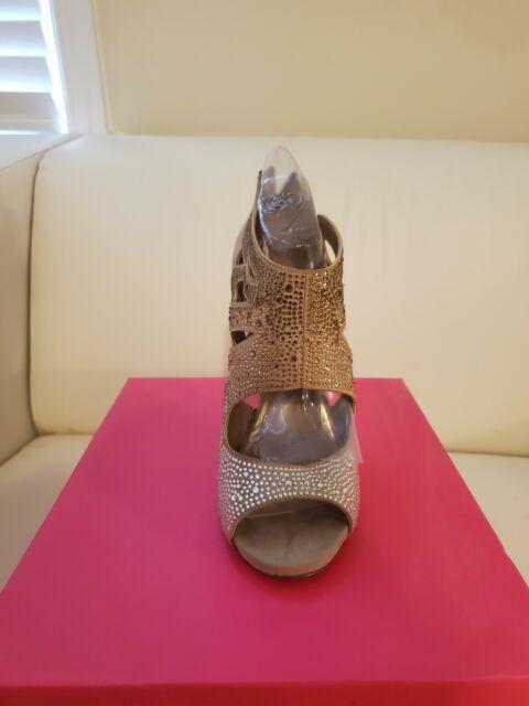 Betsey Johnson Size 7 M Nolaa Natural Open Toe Heels New Womens Shoes NWB
