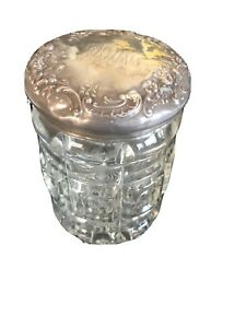 HALLMARKED-Antique-Art-Deco-Sterling-Silver-Lid-Crystal-Vanity-Jar