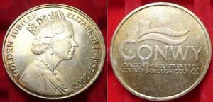 Pays De Galles Conwy 2002 Elizabeth Ii Golden Jubilee Medal County Borough Council-afficher Le Titre D'origine
